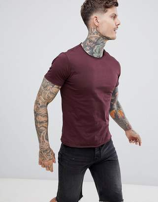Replay raw hem crew neck t-shirt in burgundy