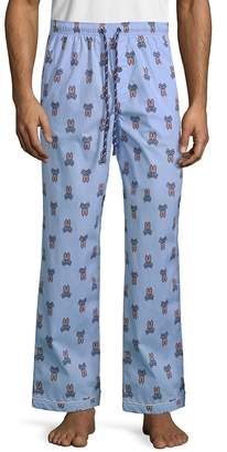 Psycho Bunny Men's Printed Woven Cotton Pajama Pants