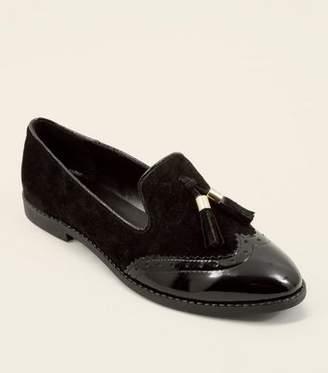 New Look Black Suede Contrast Panel Tassel Loafers