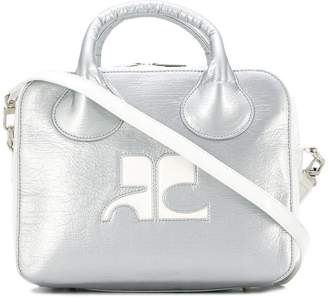 Courreges metallic logo tote bag