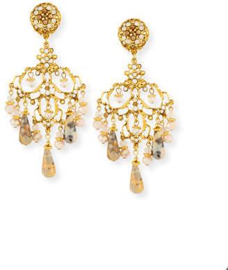 Jose & Maria Barrera Beaded Agate Chandelier Drop Clip-On Earrings