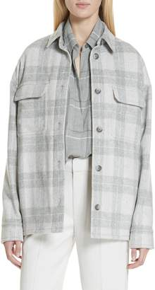 Vince Plaid Wool Blend Jacket