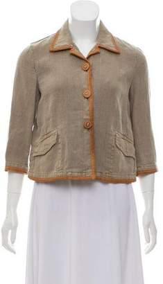 Miu Miu Linen Leather-Accented Blazer