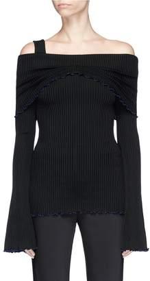Ellery 'Limozeen' lettuce frill off-shoulder rib knit sweater