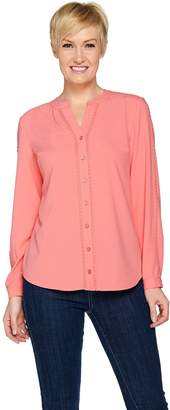 Denim & Co. Long Sleeve Y-Neck Shirt with Trim Detail