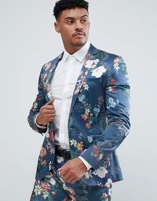 Asos Super Skinny Suit Jacket In Blue Floral Print