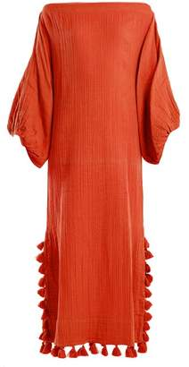 Rhode Resort - Delilah Open Neck Tassel Trimmed Dress - Womens - Red