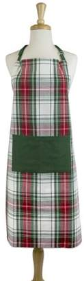 "Design Imports Christmas Plaid Chef Kitchen Apron, 32""x28"", 100% Cotton, Red, Green"