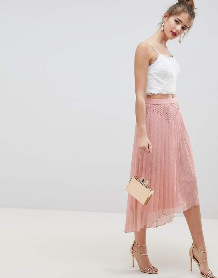 Asos Design ASOS DESIGN dobby pleated high low midi skirt with pintuck detail