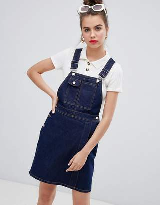 Asos Design DESIGN mini dungaree dress in dark wash