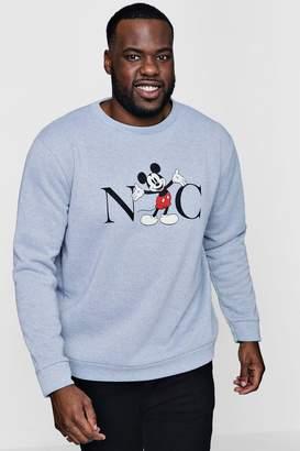 boohoo Big And Tall Disney NYC Mickey Sweater