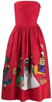 Stella Jean strapless embellished skirt dress