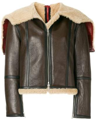 Calvin Klein zipped shearling jacket