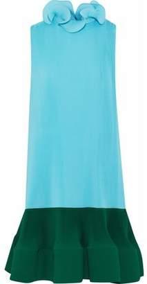 Tibi Ruffled Two-Tone Plissé Crepe De Chine Mini Dress