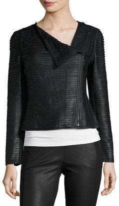 My Tribe Asymmetric-Zip Leather Striped Jacket, Black $268 thestylecure.com