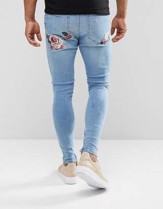 SikSilk Super Skinny Fit Jeans With Floral Embroidery