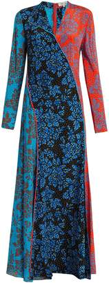 Diane von Furstenberg Callow-print panelled bias-cut silk dress