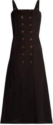 MONICA Albus Lumen Linen Dress - Womens - Black