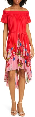 Ted Baker Berry Gillyy Pleat Off the Shoulder Dress