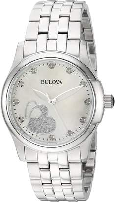 Bulova Women's Quartz Stainless Steel Casual Watch, Color Silver-Toned (Model: 96P182)