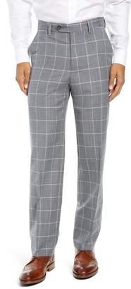 Berle Manufacturing Flat Front Windowpane Wool Trousers