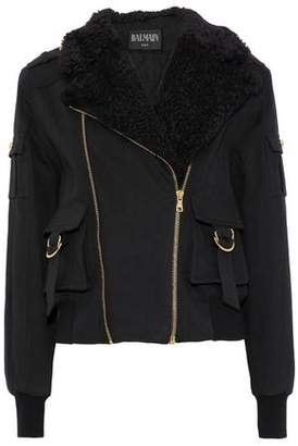 Balmain Shearling-Trimmed Stretch-Cotton Twill Jacket