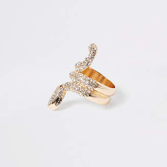 River Island Gold tone rhinestone paved snake ring