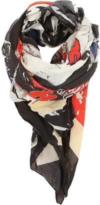 Balmain Multicolor Cotton Printed Oversized Scarf