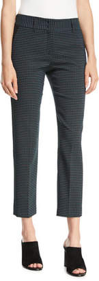 Piazza Sempione Kim Slim-Leg Check Cropped Trousers w/ Slash Pockets
