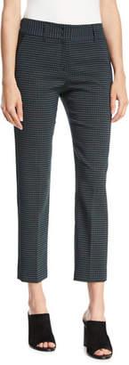 Piazza Sempione Kim Slim-Leg Check Cropped Trousers w/ Slash Pockets