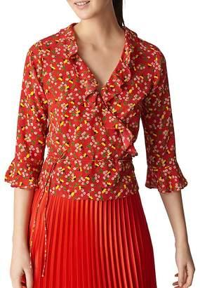 Whistles Floral Silk Wrap Top