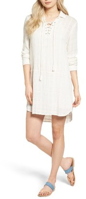 Women's Splendid Lace-Up Linen Tunic Dress $158 thestylecure.com