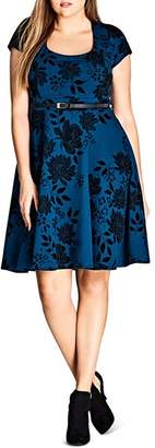 City Chic Plus Floral Print Belted Dress