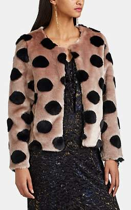 Barneys New York WOMEN'S POLKA DOT FAUX-FUR CROP JACKET - LT. BROWN SIZE XS