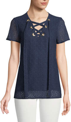 MICHAEL Michael Kors Lace-Up Short-Sleeve Lace Tee