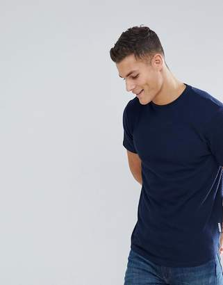 Bellfield T-Shirt In Texture With Drop Hem In Navy