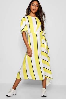 boohoo Asymmetric Stripe Spliced Midi Dress