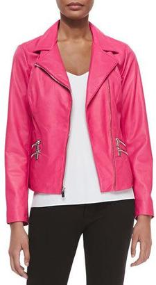 Neiman Marcus Leather Moto Jacket W/ Zip Pockets, Hot Pink $325 thestylecure.com