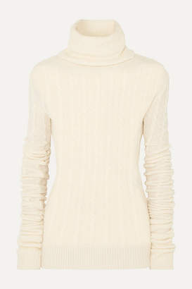 Jacquemus Sofia Cable-knit Alpaca-blend Turtleneck Sweater - White