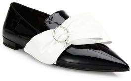 Prada Patent Leather Bow Point Toe Loafers $750 thestylecure.com