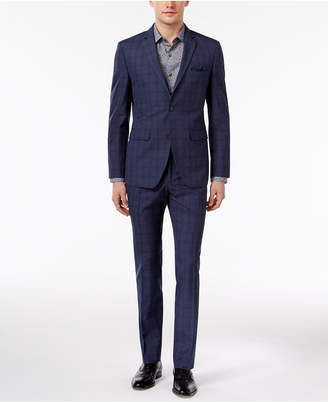 Perry Ellis Men's Extra Slim-Fit Portfolio Denim Blue Windowpane Comfort Stretch Suit $375 thestylecure.com