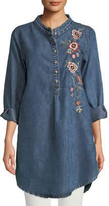 Tolani Madison Chambray Tunic Shirt w/ Floral Embroidery, Plus Size