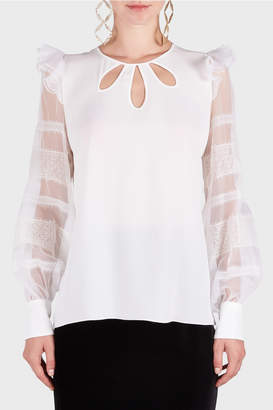 Andrew Gn Keyhole Neckline Lace Top