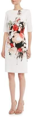 Rickie Freeman For Teri Jon Scuba Floral-Print Sheath Dress