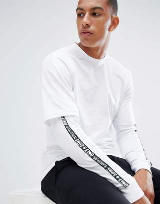 ONLY & SONS long sleeve t-shirt with faux layer detail and arm stripe