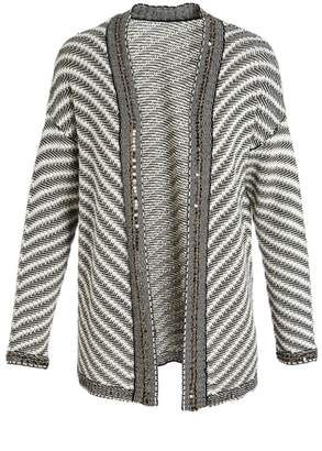 Evergreen Striped Open Cardigan