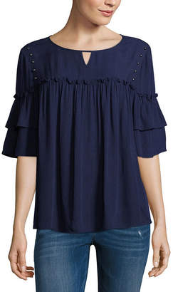 A.N.A Ruffle Sleeve Studded Top Short Sleeve Crew Neck Woven Embellished Bohemian Blouse