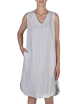 Jump Sleeveless Stripe V Neck Dress