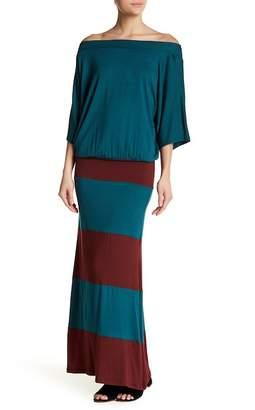 Couture Go Off-the-Shoulder Colorblock Maxi Dress