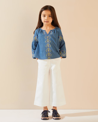 Jigsaw Embroidered Chambray Top